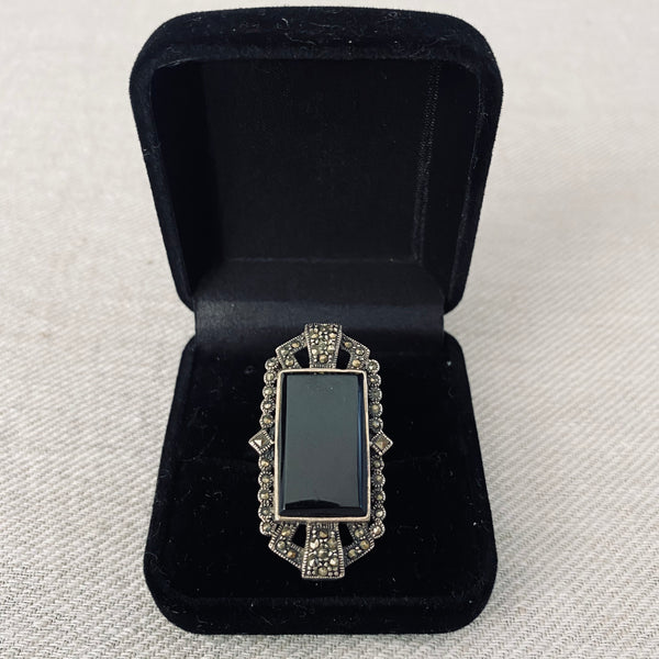 Art Deco Style Sterling Silver Onyx and Marcasite Ring