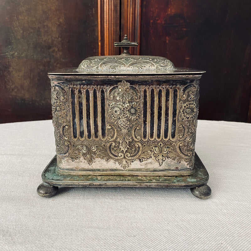 Antique Silver-Plated Biscuit Barrel