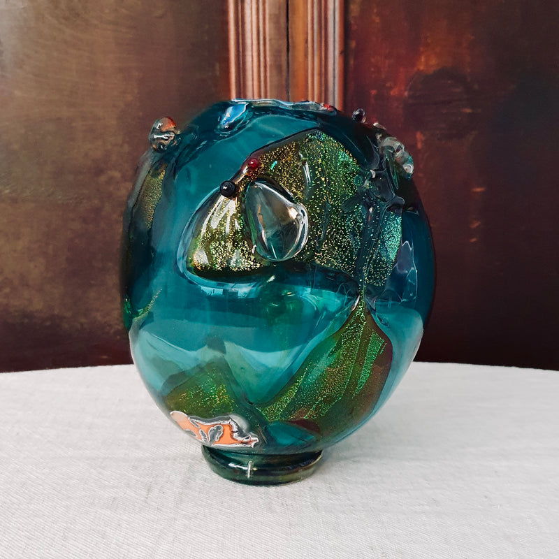 Blue Green Don Wreford Glass Vase with Aventurine
