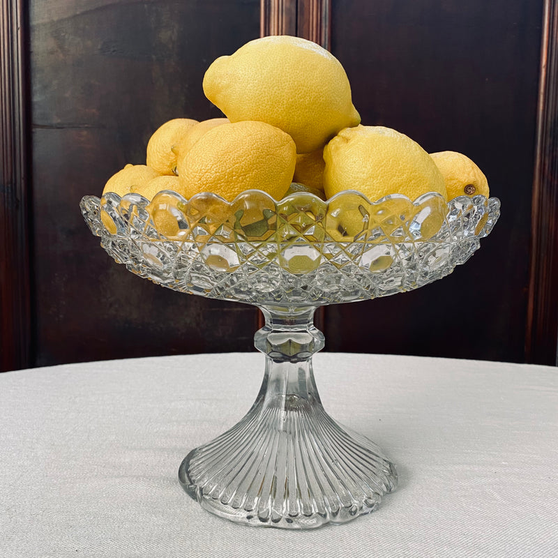 Early Australian Large Hand Cut Glass Compote