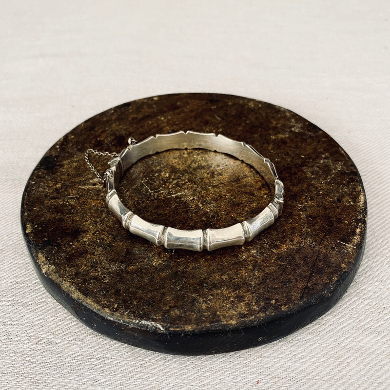 English Hallmarked Sterling Silver Bamboo Bangle Birmingham 1962
