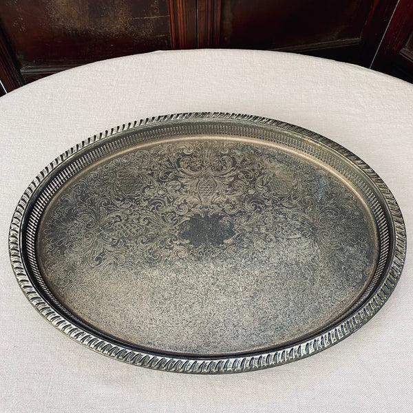 Large Silver Plated Oval Galley Tray