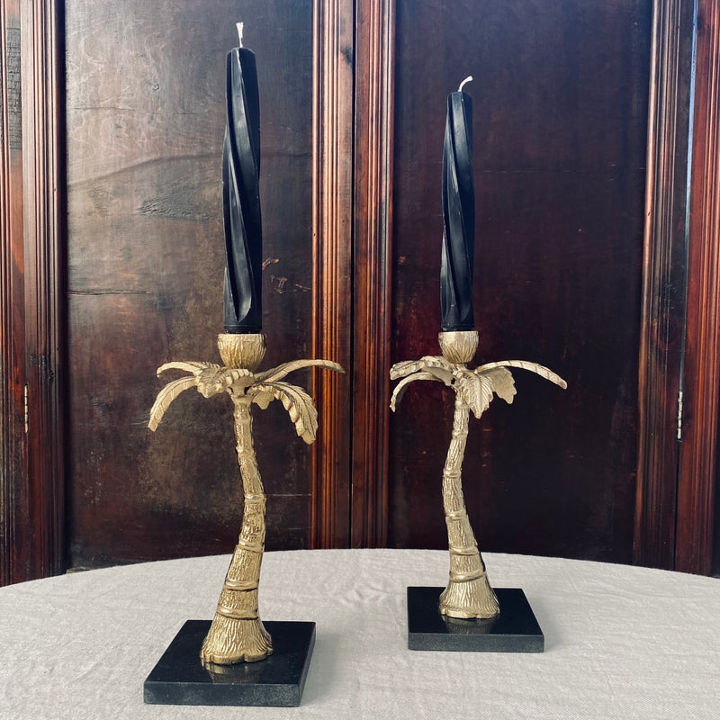 Pair of Vintage Palm Tree Candlesticks on Marble Bases