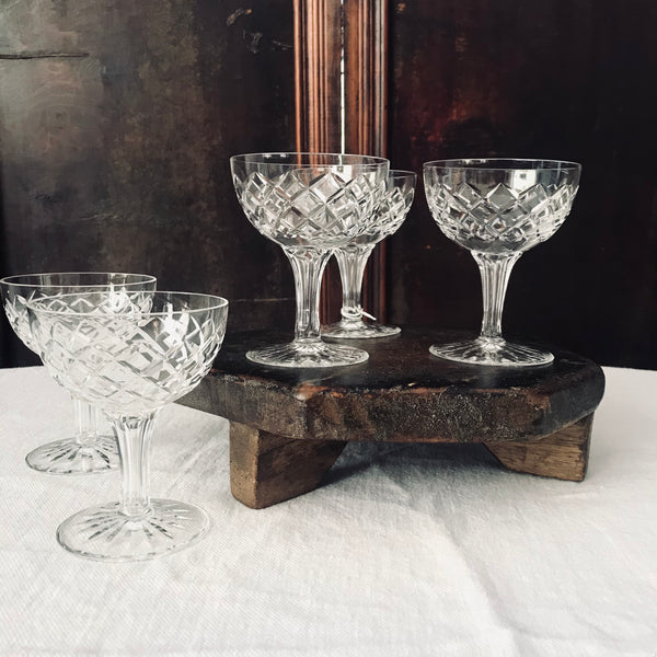 Vintage Cut Crystal Champagne Coupes - Set of 5