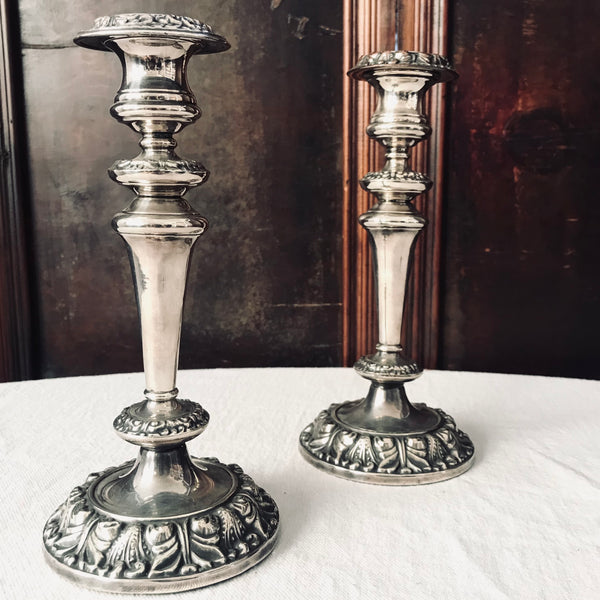 Pair of Vintage Sheffield Silver Plated Candlesticks