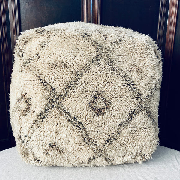 Vintage Moroccan Pouffe - Toasted Marshmellow