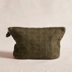 Embroidered Linen Make-Up Bag