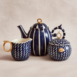 Navy Striped Tea Set