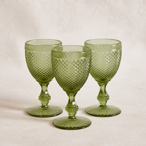 Diamond Cut Wine Glass - Green