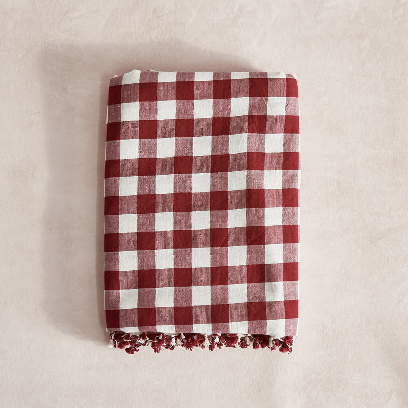 Cherry Gingham Tablecloth