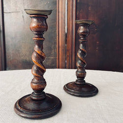 Pair of Oak Twirl Candlesticks 1940s
