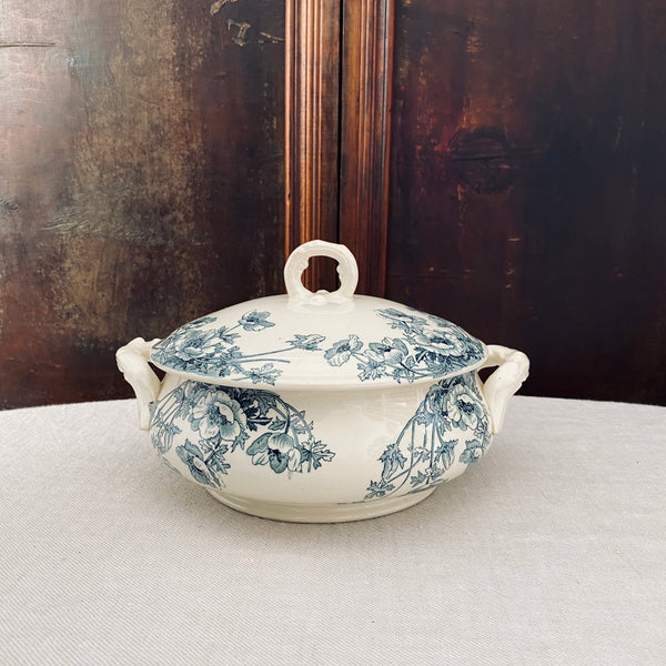 1800s Antique Gien Blue & White Ironstone Tureen