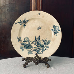 1800s Antique Gien Terre de Fer Fruits Round Platter
