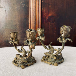 Antique French Bronze Dual Form Candlesticks (Pair)
