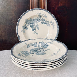 1900's Set of six French Antique U & C Sarreguemines Ironstone Soup Plates.