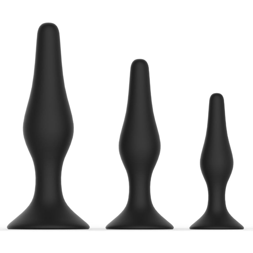 Level Up II Anal Trainers 3 Piece Silicone Suction Set