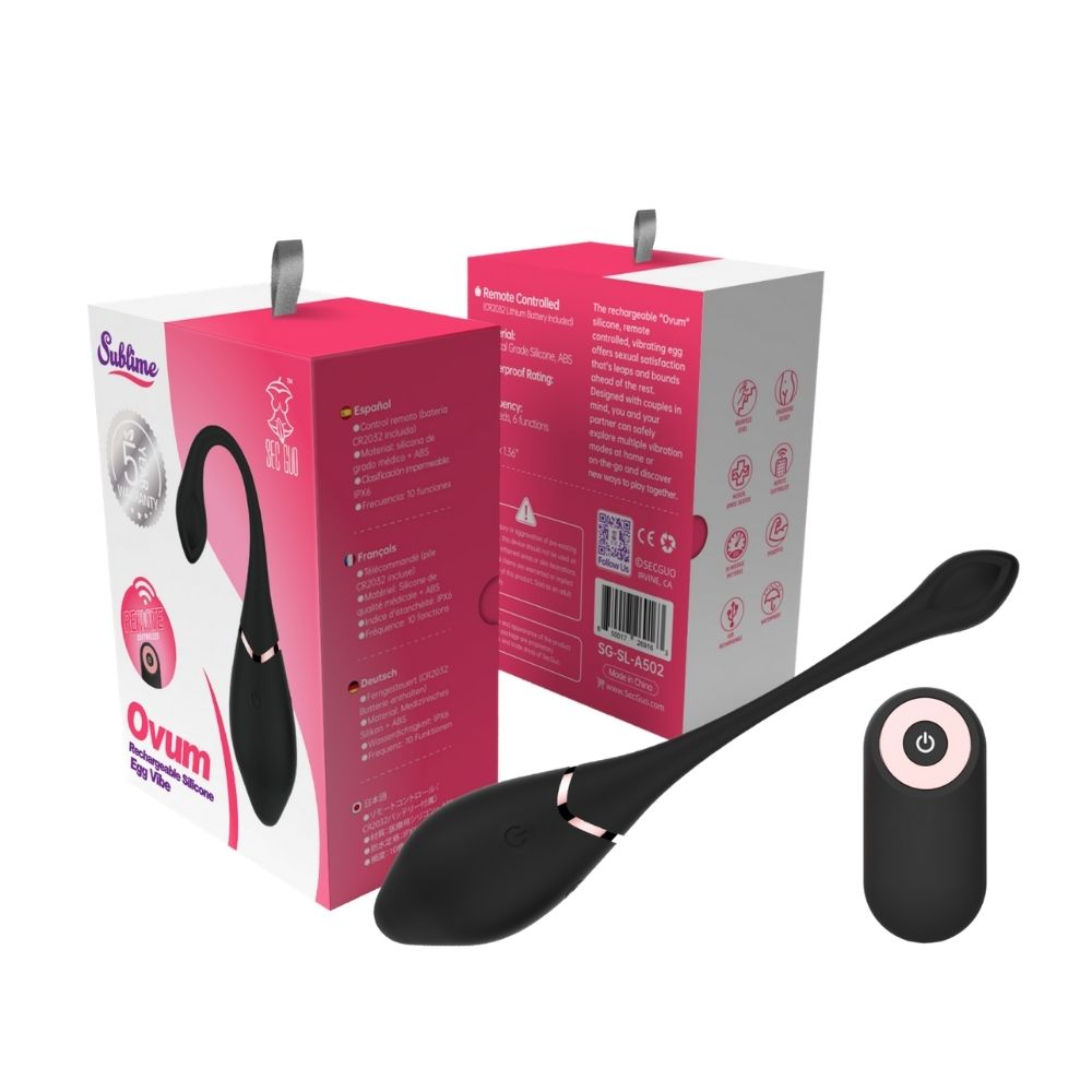Ovum Rechargeable Black Silicone Egg Vibe Sublime Package