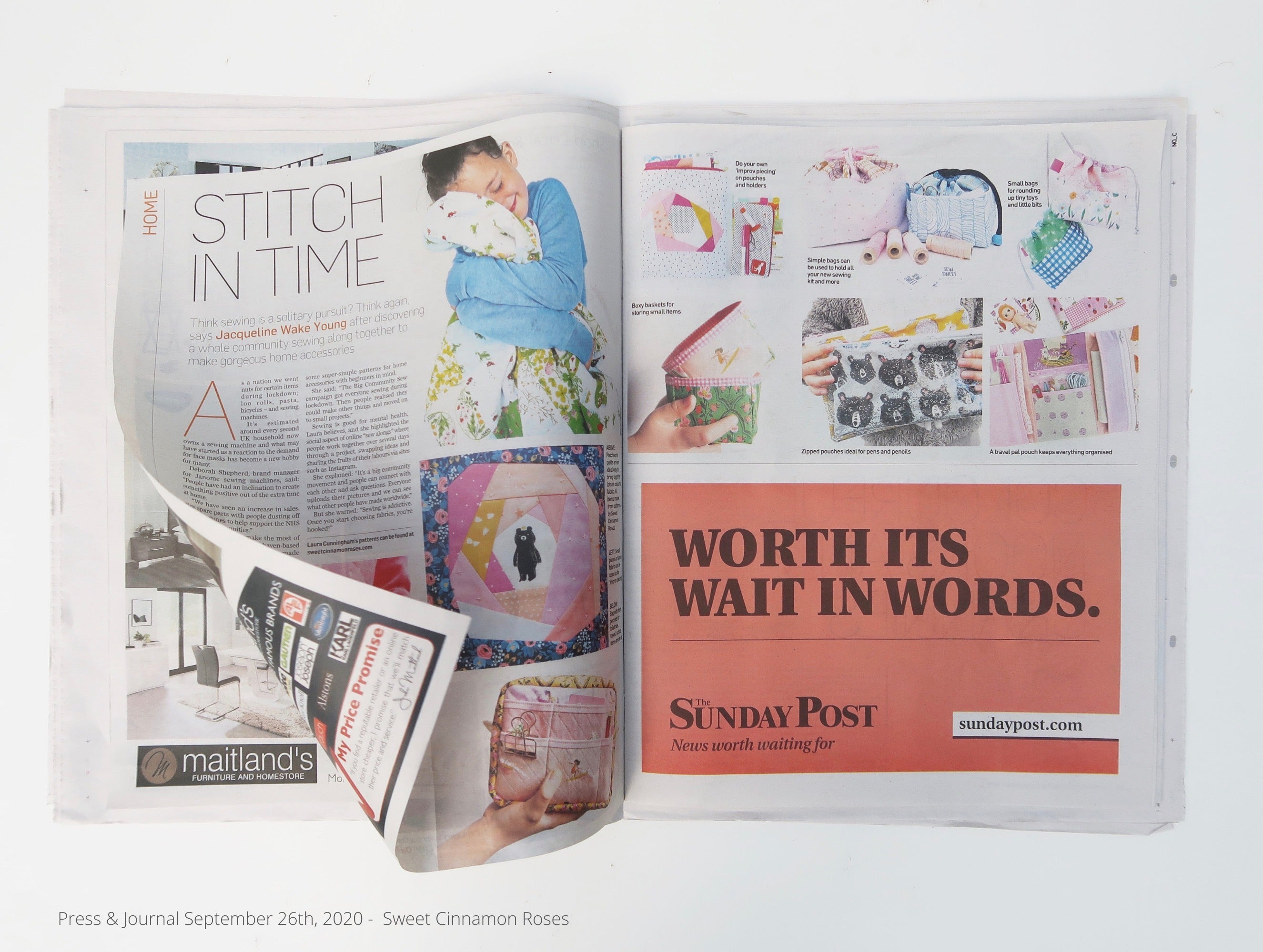 Sweet Cinnamon Roses in the Press and Journal