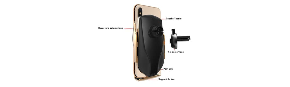 support smartphone voiture induction