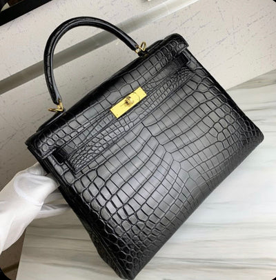 Black croco handbag effect