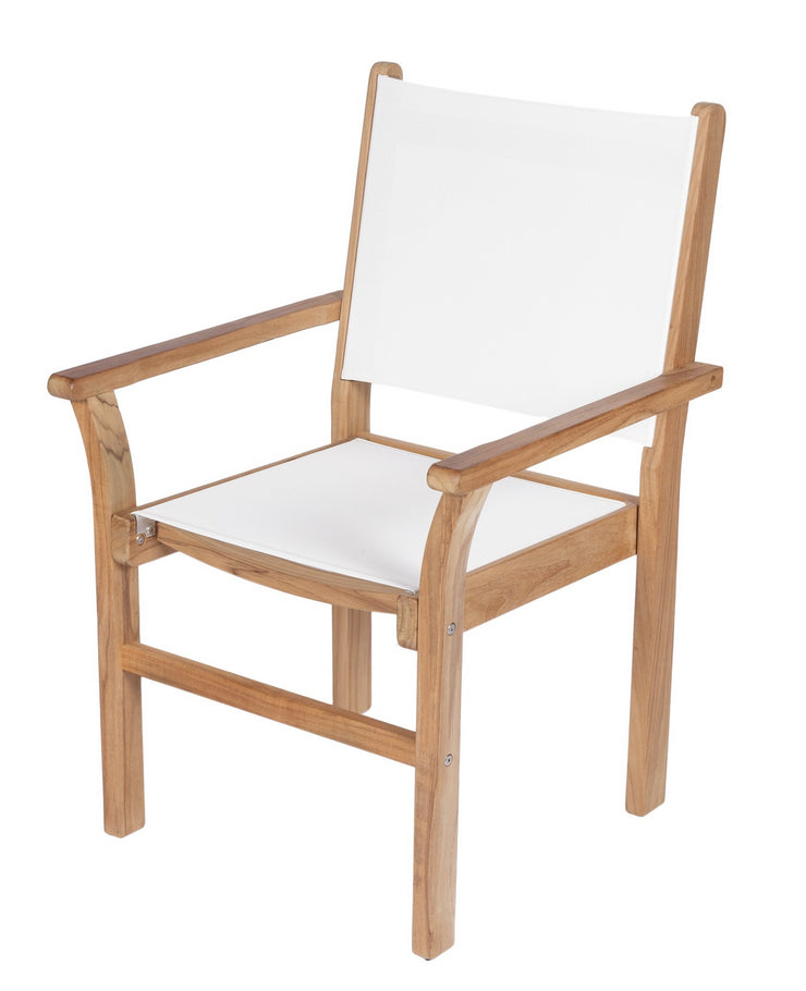 Royal Teak Collection Captiva Stacking Dining Chair - White Sling