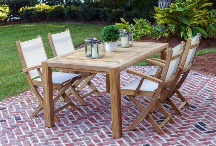"Teak Outdoor 63"" Dining Table for 4 with White SailMate Arm Chairs"