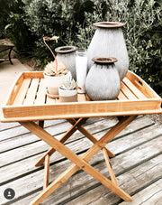 Teak Tray on Stand