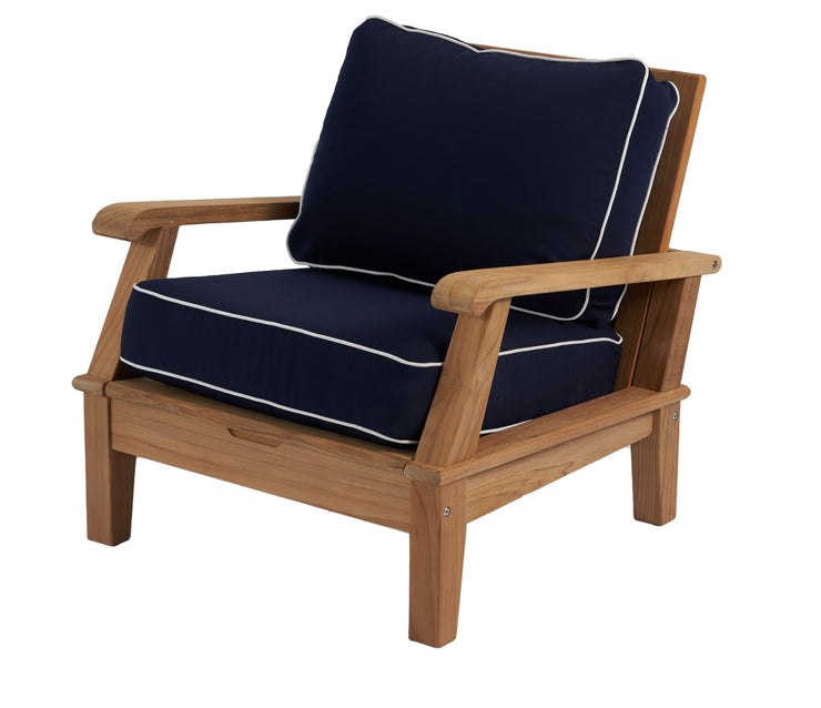 Harbor Reclining Teak Club Chair with Sunbrella Cushions
