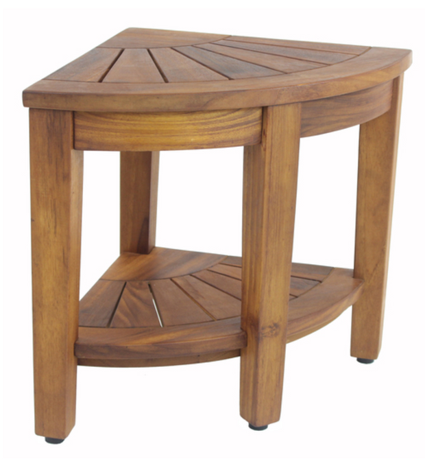 Teak + Table Solid Teak Corner Vanity Stool