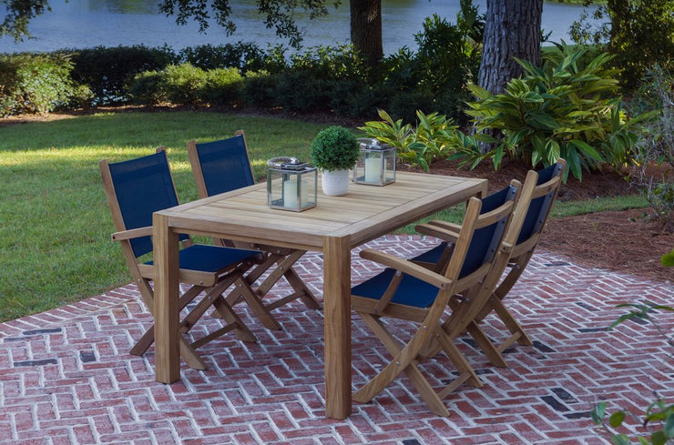 Teak Outdoor Comfort 63 Dining Table for 4 with Navy SailMate Arm Chairs