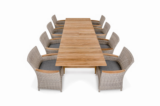"96""/120"" Capri Extend Dining Set For 8-10"