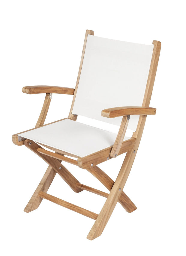 Royal Teak Collection Sailmate Arm Chair - White Sling