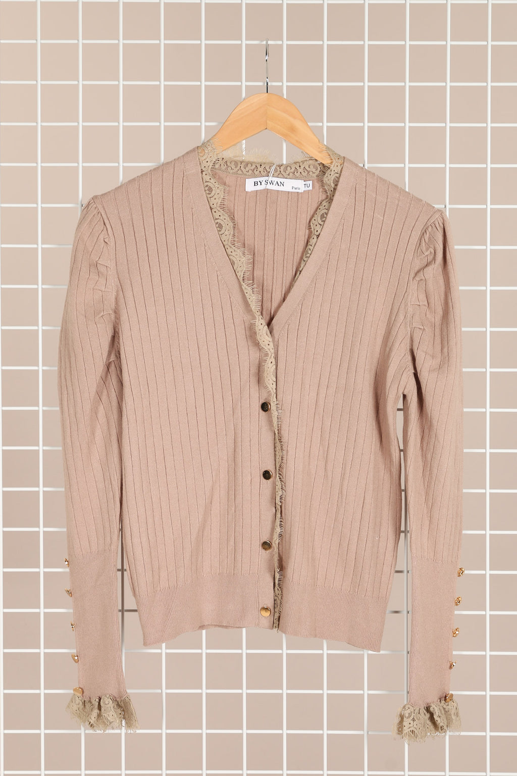 Dusty Dark Beige Cardigan Med Blonder og Guld knapper
