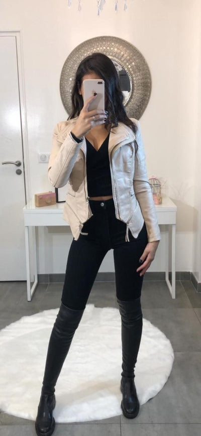 Støvet Beige Faux Leather Biker Jakke