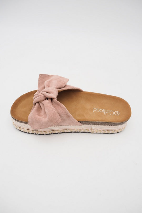 Dusty Dark Rosa Sarlo Slippers Med Stor Sløjfe