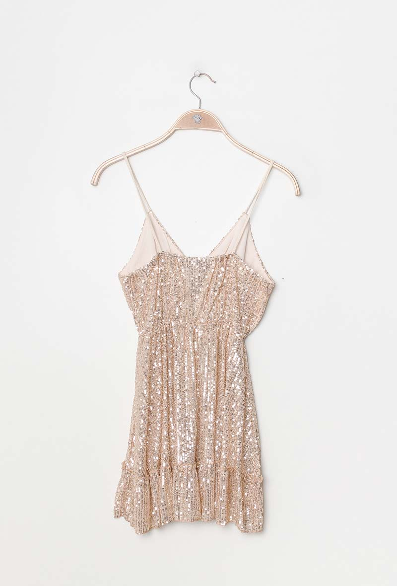Beige Archy Boheme Sequined Glitter Top Shiny