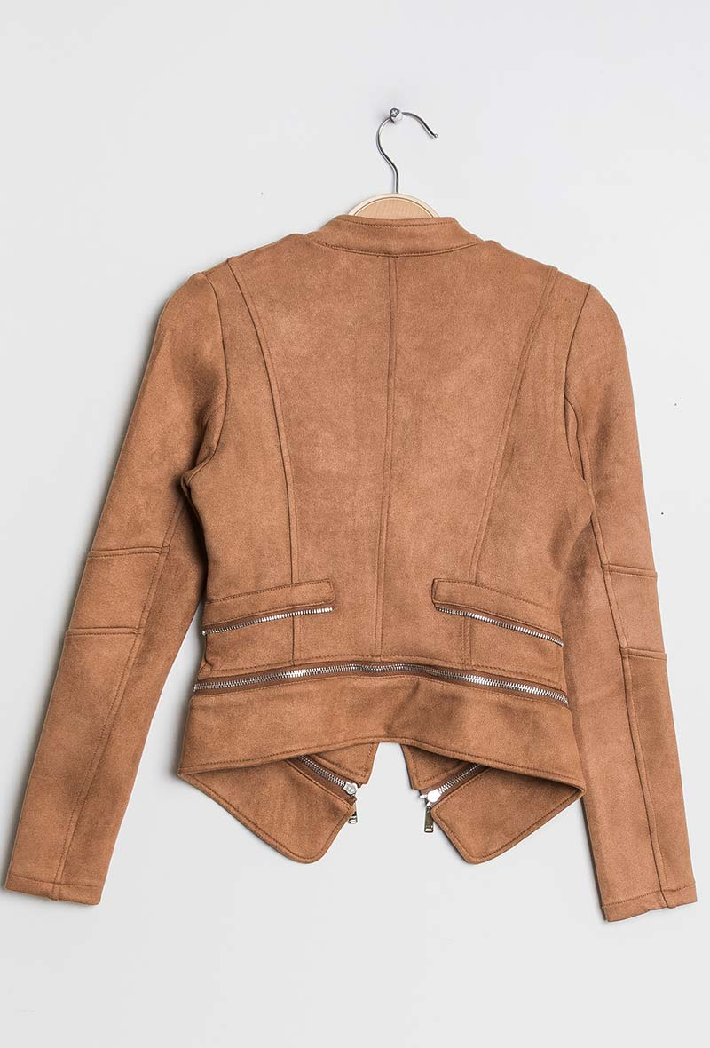 Camel Biker Jacket Double Collar