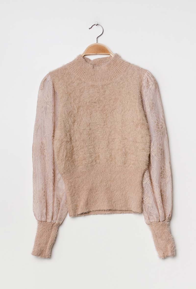 Beige Strik Sweater Med blonder & Puf