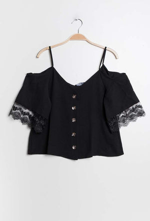 Sort Aya Cold Shoulder Top