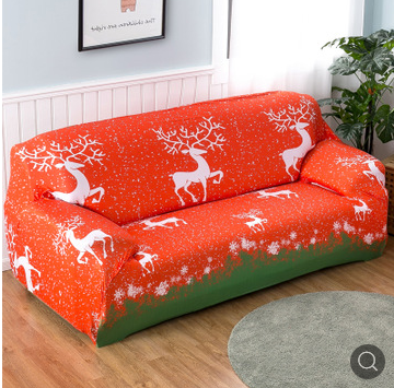 Japanese Style 3 Seater Sofa Cover Elastic Furniture Protector Orange Red