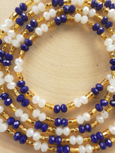 Load image into Gallery viewer, Blue + Gold + Crystal White 50""