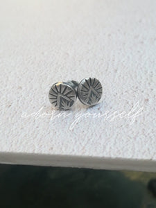 handmade hand stamped vegan silver earrings