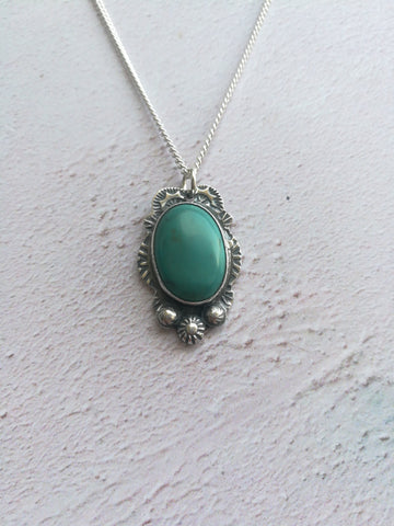 Turquoise Hand Stamped Necklace