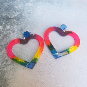 Rainbow Heart Earrings