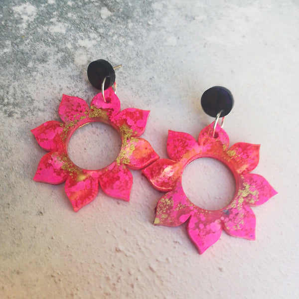 Pink and Gold Sunflower Earrings