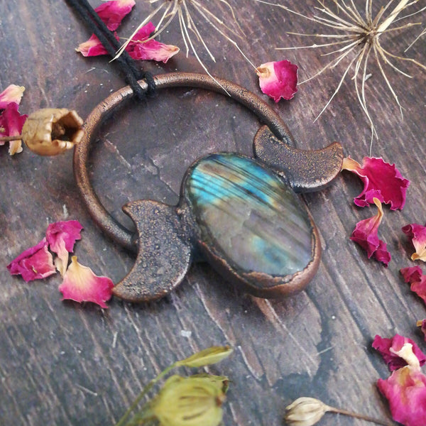 Triple Moon Labradorite Necklace