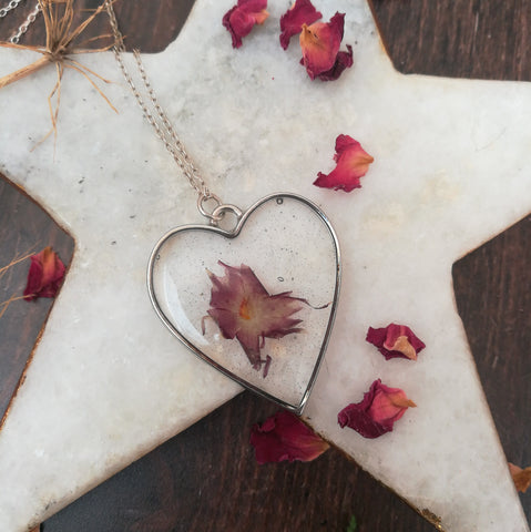 Pressed Flower Heart Necklace