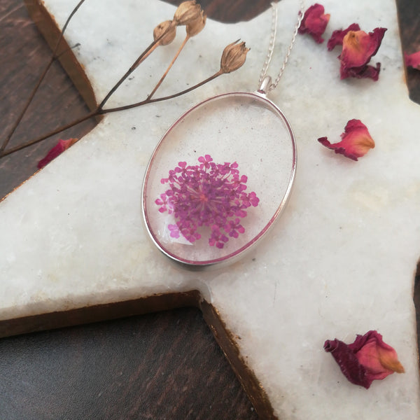 Queen Anne's Lace Flower Necklace