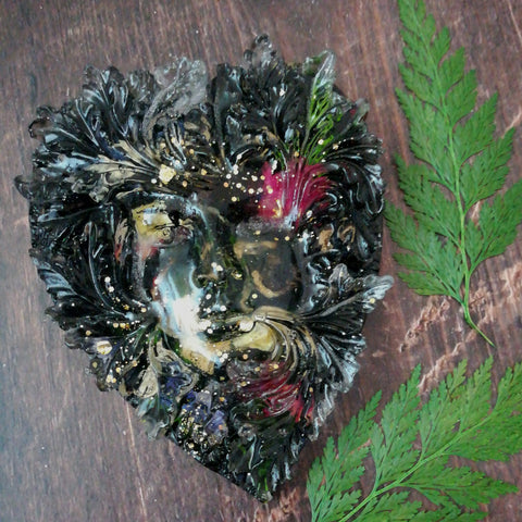 Green Man Black Heart Decoration