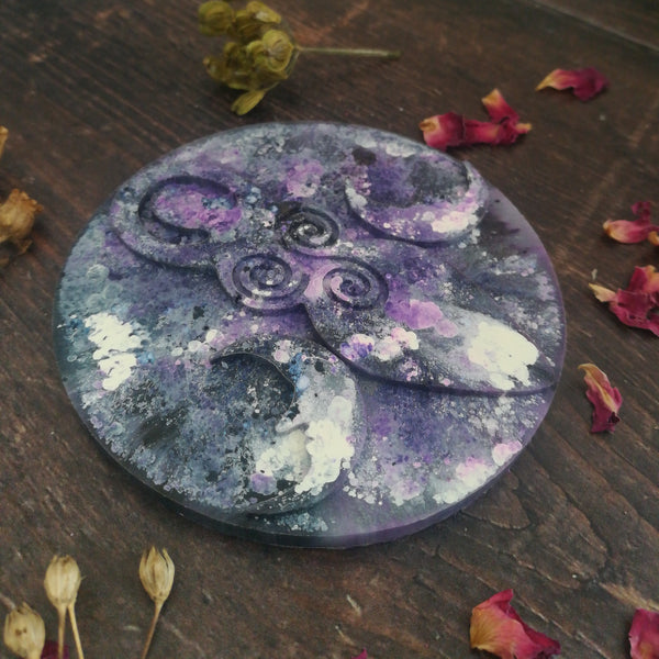Purple Triple Moon Goddess Altar Tile
